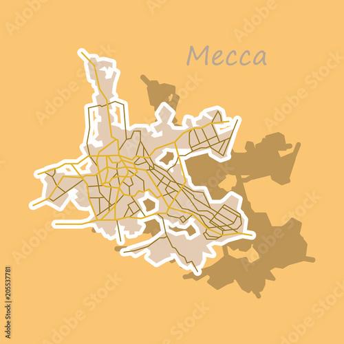 Mecca map Saudi Arabia, Sticker illustration. - Buy this stock ...