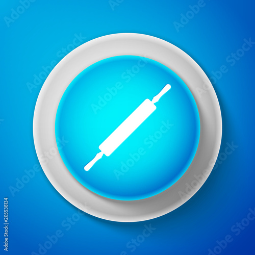 White Rolling pin icon isolated on blue background Poster