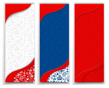 Three Football World Cup Backgrounds With Russian Flag.