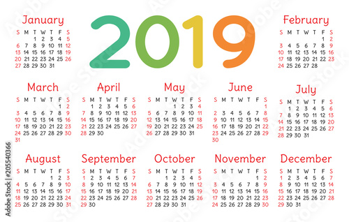 Pocket Calendar 2019 Vector Basic Grid. Simple Design Template
