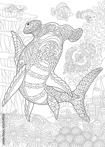 Underwater Background With Hammer Head Shark Coloring Page Adult
