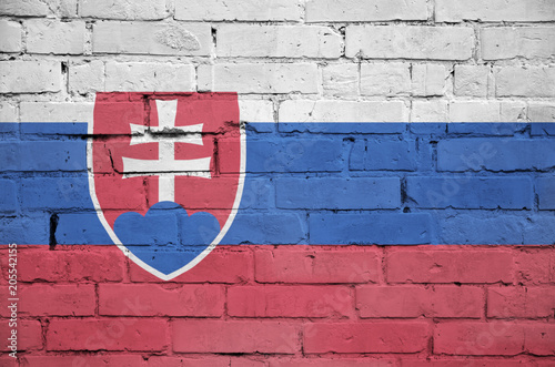 Slovakia flag is painted onto an old brick wall Fototapeta