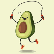Cute Avocado Cartoon Character Makes The Jump Rope Exercises. Vector Cartoon Flat Illustration Isolated On Background. Eating Healthy And Fitness.