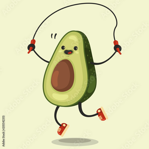 Cute Avocado Cartoon Character Makes The Jump Rope Exercises Vector Cartoon Flat Illustration Isolated On Background Eating Healthy And Fitness Buy This Stock Vector And Explore Similar Vectors At Adobe Stock