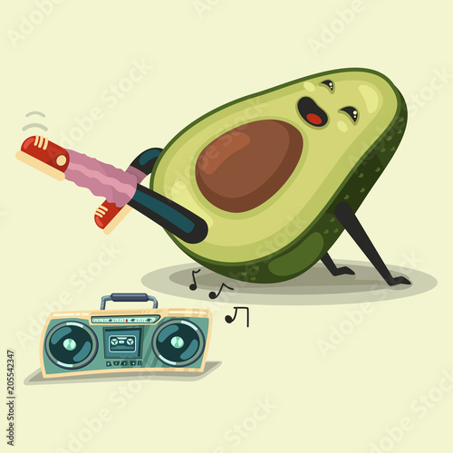 Cute Avocado cartoon character doing fitness exercise and ...