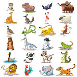 Fototapeta Fototapety na ścianę do pokoju dziecięcego - Cute animals cartoon vector. Zoo set of mammals, reptiles and birds. Character illustration of a lion, tiger, elephant, panda, monkey, bear, owl, bat, etc. isolated on white background.
