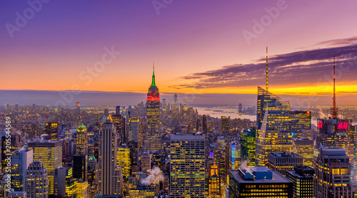 New York City, New York, Jan 2018, sunset over Manhattan view from the top of a skyscraper