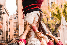 People Building Human Tower In Catalonia