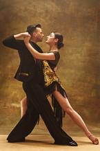 Dance Ballroom Couple In Gold ...