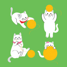 Cartoon Cute Actions Cat Playing Yellow Yarn Vector.
