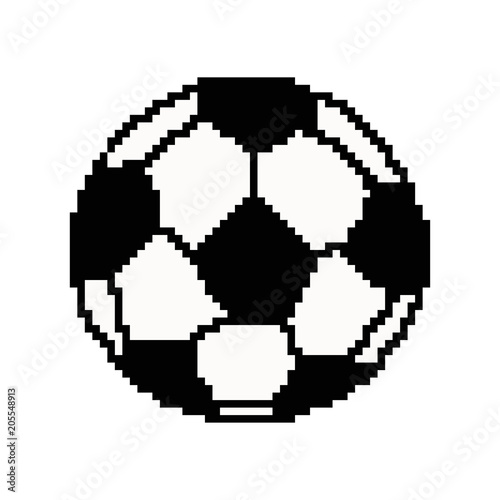 Pixel Art Football Ball Vector 8 Bit Game Web Icon Isolated