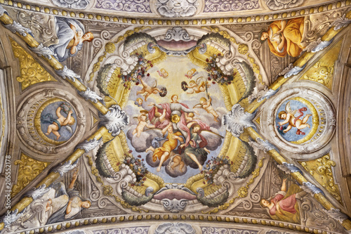 PARMA, ITALY - APRIL 16, 2018: The ceiling fresco with the Apotheosis of St Canvas Print