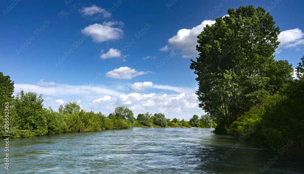Fototapety, obrazy: navigation on the Oglio River in the Po Valley,in Italy