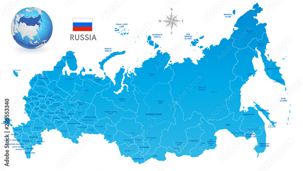 Fototapety, obrazy: Blue Russia Vector Administrative Map