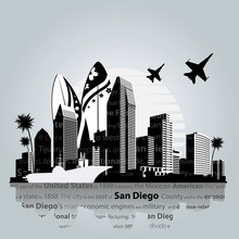 San Diego City Skyline. Vector Illustration