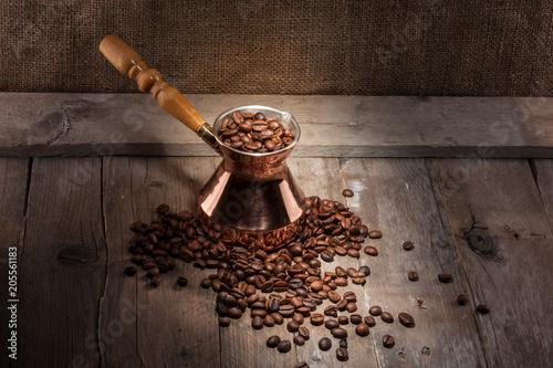 Fotobehang Koffiebonen coffee beans and turk