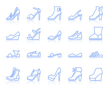 Shoes Simple Color Line Icons Vector Set