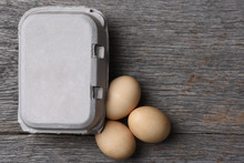 Carton Of Fresh Eggs With Thre...