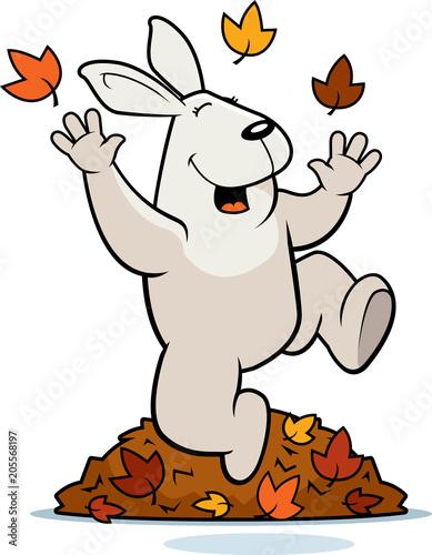 Tuinposter Cartoon Rabbit Autumn