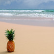 Fresh pineapple on the beach.