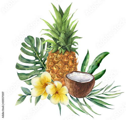 Watercolor tropical bouquet with flowers, leaves and fruit. Hand painted monstera, palm branch, frangipani, pineapple and coconut isolated on white background for design, fabric, or background. Wall mural