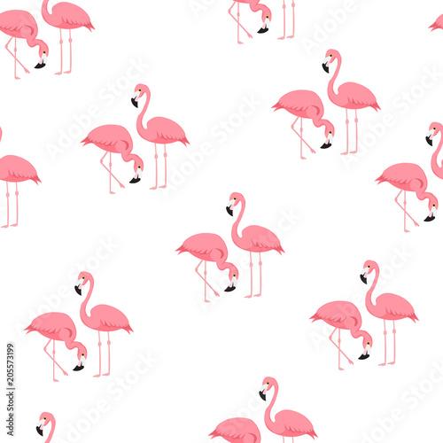 Canvas Prints Flamingo Bird Tropical trendy seamless pattern with flamingos and zebra print. Exotic Hawaii art background. Design for fabric and decor. Summer fashion print. Pink flamingo illustration. Animal skin zebra stripes.