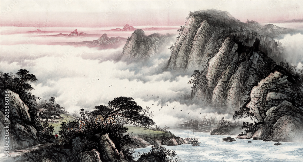 Chinese traditional culture painting of water and water landscape painting