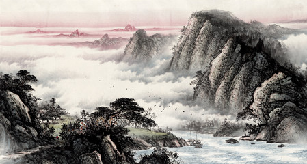 FototapetaChinese traditional culture painting of water and water landscape painting