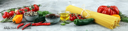 Italian food background with different types of pasta, health or vegetarian concept.