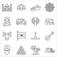 Set Of India Symbols Line Vector Icons.