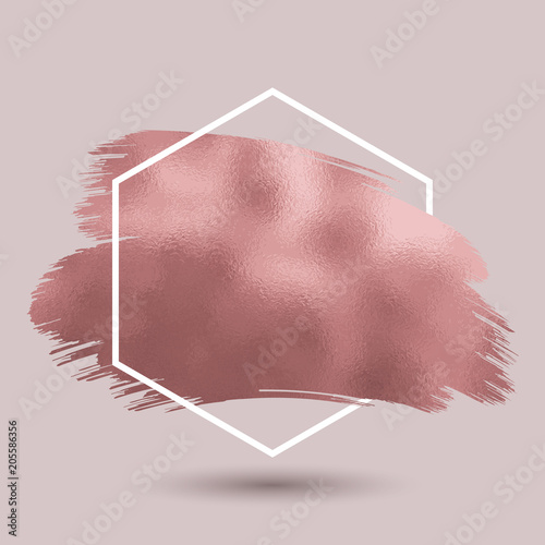Abstract background with metallic rose gold texture in hexagonal frame Fototapeta