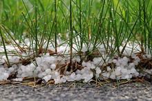 Unwetter Im Frühling Und Sommer. Hagelkörner Auf Dem Boden