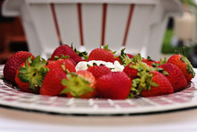 Plate Of Red Ripe Stawberries ...