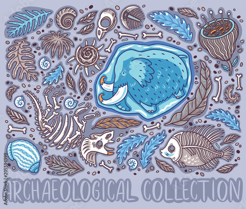 Fotomural Collection of cartoon Triceratops fossil, mammoth in ice, ancient ammonites ferns, trilobite, leaves and rocks