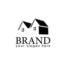 House Logo Vector On White Background. Flat Logo Design. Black House.