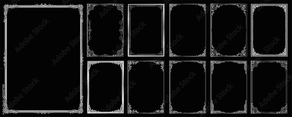 Fotografia  Set of Decorative vintage frames and borders set,Gold photo frame with corner Th