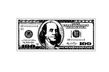 Hundred Dollar Bill. Vector Illustration