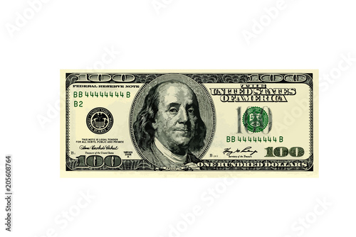 Fotografia, Obraz  hundred dollar bill. vector illustration