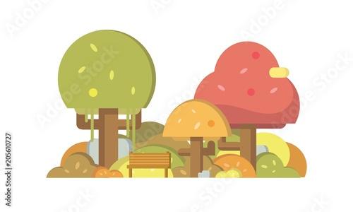 Foto auf Gartenposter Die magische Welt Flat Autumn Park Illustration