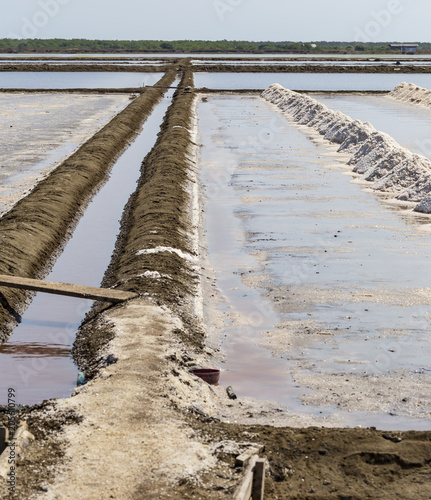 Fotografie, Tablou  Gutter in salt ponds that make raw salt or pile from sea water in evaporation