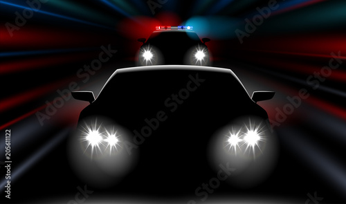 realistic fast police car chases the car Wallpaper Mural