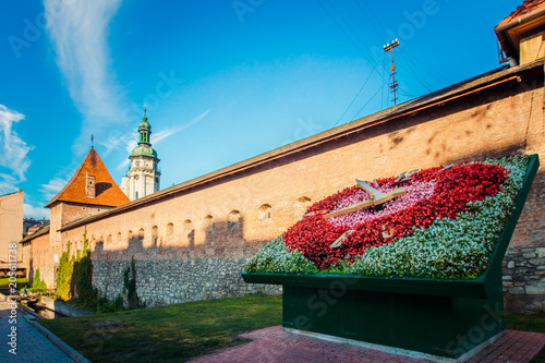 Aluminium Prints Eastern Europe Flower clock near Bernardine church in Lviv, Ukraine