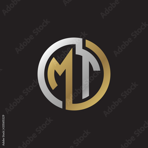 Fototapeta Initial letter MT, looping line, circle shape logo, silver gold color on black b