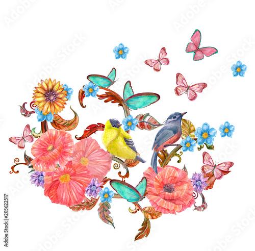 Karta zaproszenie z abstrakcyjnymi bukiety kwiatowe z motyle, ptaki. Malarstwo akwarelowe.