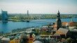 Aerial view of the center of Riga from the church of St. Peter, Latvia.