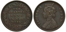 British India Coin Quarter Anna 1875, Circular Plant Ornament, Denomination Within, Queen Victoria Bust Left, Colonial Time,