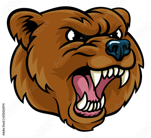 Photo  Grizzly Bear Cartoon Mascot Angry Face