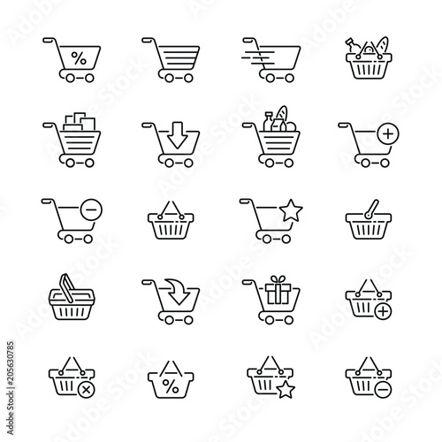 Fotomural Shopping cart and basket: thin vector icon set, black and white kit
