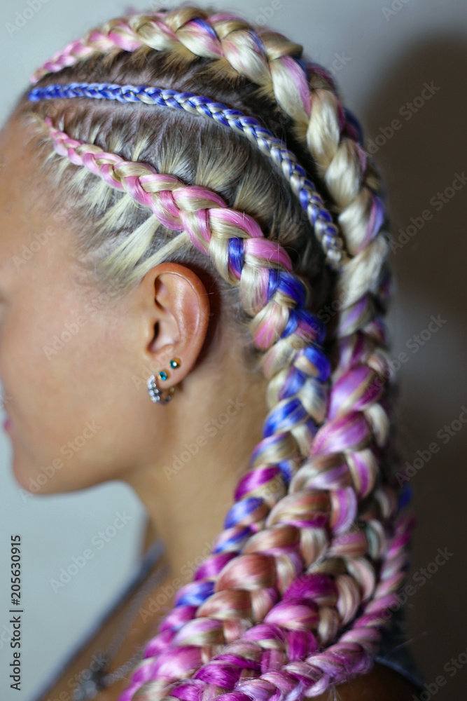 Fototapety, obrazy: a beautiful hairstyle made of thick and thin braid on the head with a colored kanekalon, hair is woven in material, hair bands