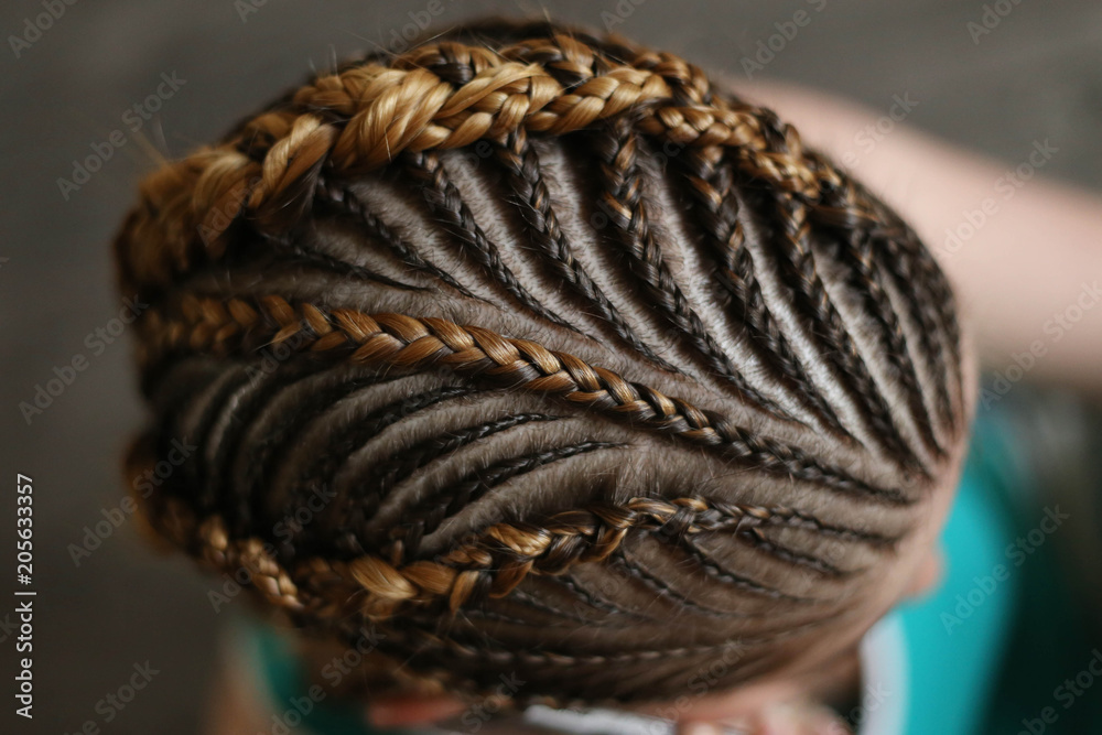 Fototapety, obrazy: hairstyles from thin plaits on the head of a girl, a master, a beauty salon, a beauty trail